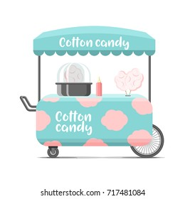 Cotton candy street food cart. Colorful vector illustration, cartoon style, isolated on white background
