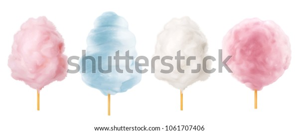 Cotton candy. Sugar clouds 3d vector icon set