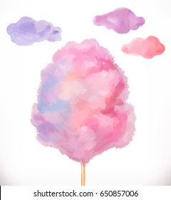 Cotton candy. Sugar clouds. Watercolor vector illustration