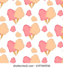 Cotton candy wrapper seamless pattern vector illustration sugar clouds wallpaper dessert. Fluffy yummy sweet delicious. Candyfloss carnival snack.