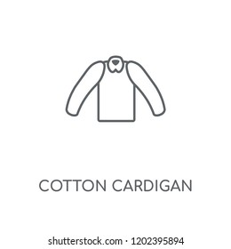 Cotton Cardigan linear icon. Cotton Cardigan concept stroke symbol design. Thin graphic elements vector illustration, outline pattern on a white background, eps 10.