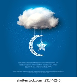 Cotton cloud with lace moon and star. Vector illustration.