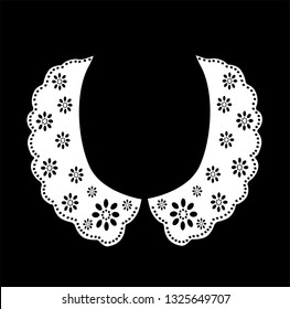 cotton collar lace hand drawn eyelet brode