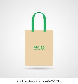 Cotton eco bag. Vector illustration