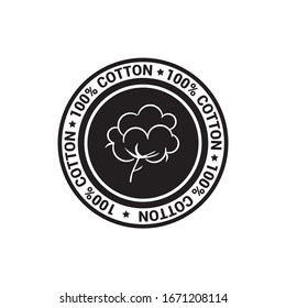 Cotton emblem. Certificate of guarantee of organic product. Cotton icon to distinguish fabrics.