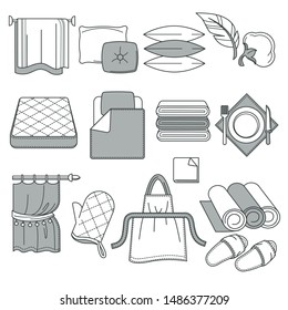 Cotton fabric rolls, home textile, linen and towels, pillows and curtains isolated objects vector. Matress and blanket, kerchief and drapes, kitchen glove and apron. Slippers, feather cushions filling