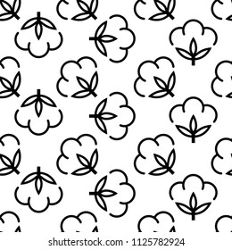 Cotton Flower Icon Seamless Pattern, Cotton Ball, Cotton Fiber Seamless Pattern Vector Art Illustration