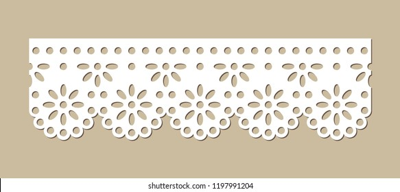 Cotton Lace Fabric Border, Decorative Ornament for Textile, Paper Cut Out Design