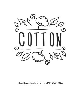 Cotton logo with hand-drown elements, vector