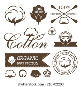 Cotton logos, icons, labels, stickers and emblems. Clothing decorative elements.