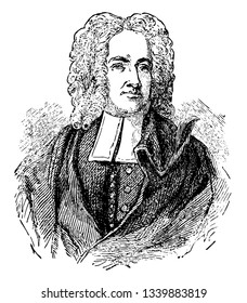 Cotton Mather he was a socially and politically influential New England Puritan minister prolific author and pamphleteer vintage line drawing or engraving illustration