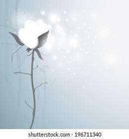 COTTON / Romantic card with snowy flower