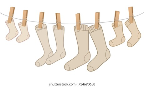 Cotton Socks On Clothesline Family Cotton socks - brown, woolen family pack on clothesline - for mum, dad, kid and baby. Isolated vector comic illustration on white background.