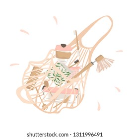 From cotton string bag spilled out attributes of zero waste lifestyle. Isolated illustration