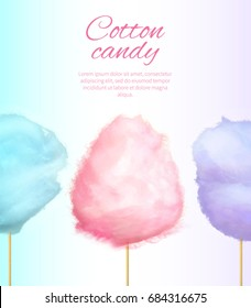 Cotton sweet candies on stick vector colorful illustration isolated on white with place for text. Banner with tasty floss form of spun sugar