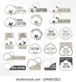 Cotton vector icons set, labels, stickers and emblems.  Textile decorative elements