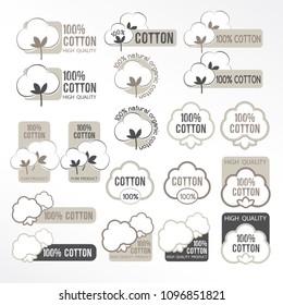 Cotton vector icons set, labels, stickers and emblems.  Textile decorative elements