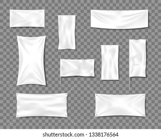 Cotton White empty smooth flag poster or placard templates set. 3d Detailed Fabric blank textile banners for advertising with folds. Vector illustration