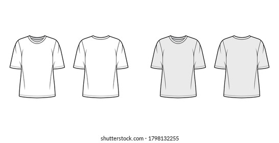 Cotton-jersey t-shirt technical fashion illustration with crew neckline, elbow sleeves, tunic length. Flat outwear basic apparel template front, back, white grey color. Women men unisex top CAD mockup