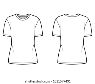 Cotton-jersey t-shirt technical fashion illustration with crew neck, short sleeves, tunic length. Flat outwear basic blouse apparel template front back white color. Women men unisex shirt top mockup