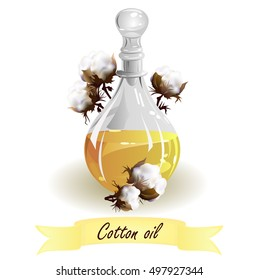 Cottonseed oil. Hand drawn vector illustration of glass jug with oil and cotton seed bolls on white background.