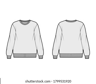 Cotton-terry oversized sweatshirt technical fashion illustration with relaxed fit, crew neckline, long sleeves. Flat outwear jumper apparel template front, back, grey color. Women, men, unisex top CAD