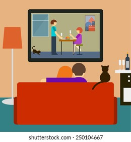 Couch. Couple on couch. Romantic movie. Love and romantic. Flat style interior. Couple, cat watching romantic movie on television sitting on couch in room. Couple, tv, movie, love, romantic. Couch, tv