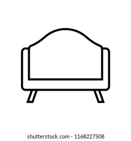 Couch line icon isolated on white background. Outline thin sofa style vector.