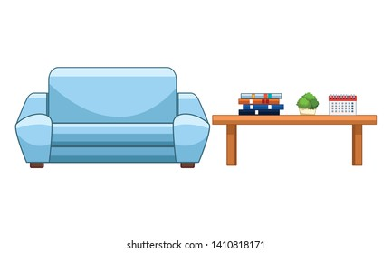 couch next to a table with books, decorative plant and calendar vector illustration graphic design