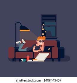 Couch potato concept illustration with man watching movies on computer. Relaxed guy lying on a sofa watching film on a laptop with pizza delivery box and aluminium beverage cans on the floor