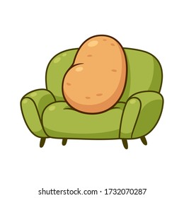 Couch potato, funny metaphor. Cartoon lazy potato sitting on sofa, vector clip art illustration.