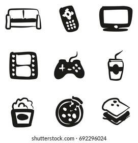 Couch Potato Icons Freehand Fill