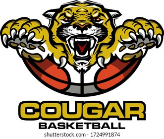 cougar basketball team design with ball and mascot for school, college or league
