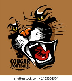 cougar football team design with cougar face for school, college or league