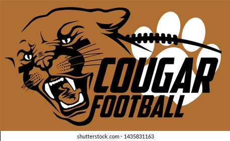 cougar football team design with mascot head for school, college or league