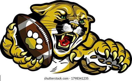 cougar football team mascot holding ball in claw for school, college or league