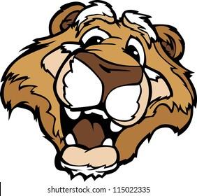 Cougar or Mountain Lion Mascot with Cute Face Cartoon Vector Image