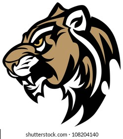 Cougar Panther Wildcat Mascot Head Vector Graphic