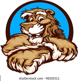 Cougar with Paws Smiling Mascot  Vector Illustration