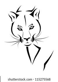 Cougar tattoo - vector illustration