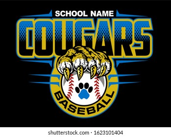 cougars baseball team design with claw holding ball for school, college or league