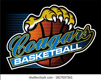 cougars basketball team design in script for school, college or league