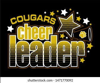 cougars cheerleader team design with megaphone and stars for school, college or league