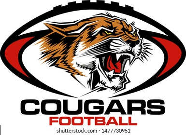 cougars football team design with mascot head inside ball for school, college or league