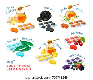 Cough drops. Sore throat remedy, colorful set of package of lozenges, flavored different tastes, with inscriptions. Vector illustration cartoon flat icon collection isolated on white.