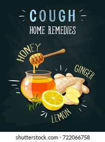 Cough home remedies. A glass pot full of honey, honey dipper, sliced ginger, lemon. Vector illustration cartoon flat icon poster on black chalkboard.