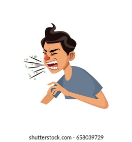 coughing man sick person with cold flu and virus