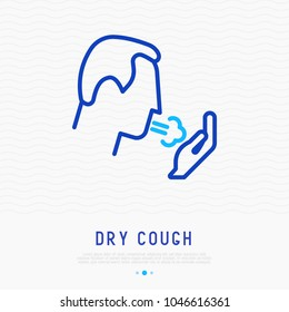 Coughing man thin line icon. Modern vector illustration of lung disease, asthma, bronchitis.