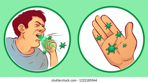 Coughing man, vector illustration