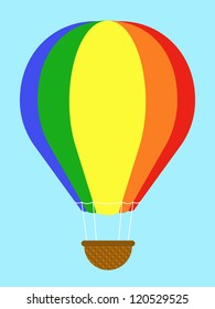 Coulourful hot-air balloon with striped panels in the colours of the rainbow floating high in a clear blue sky with an empty wicker basket gondola dangling below, isolated vector illustration